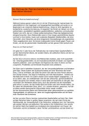 Der Beitrag der Matriarchatsforschung - Integrierte Gesellschaft