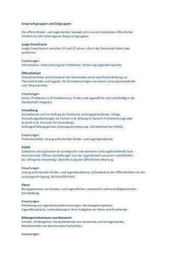 Anspruchsgruppen und Zielgruppen - VOJA