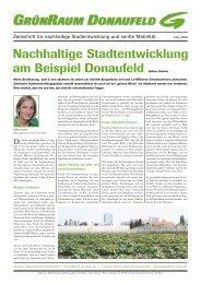 mit einem Artikel zum Donaufeld und nachhaltiger Stadtentwicklung ...