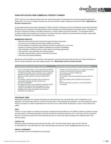 PROPERTY OWNER Application - Downtown Vancouver Business ...