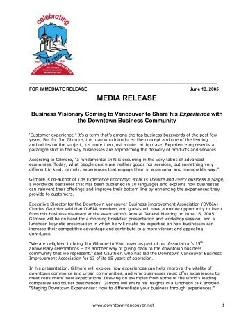 MEDIA RELEASE - Downtown Vancouver Business Improvement ...