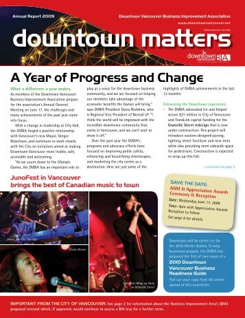 Annual Report 2009 - Downtown Vancouver Business Improvement ...