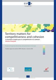 Territory matters for competitiveness and cohesion - Développement ...