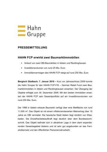 PRESSEMITTEILUNG HAHN FCP erwirbt zwei ... - Hahn Gruppe