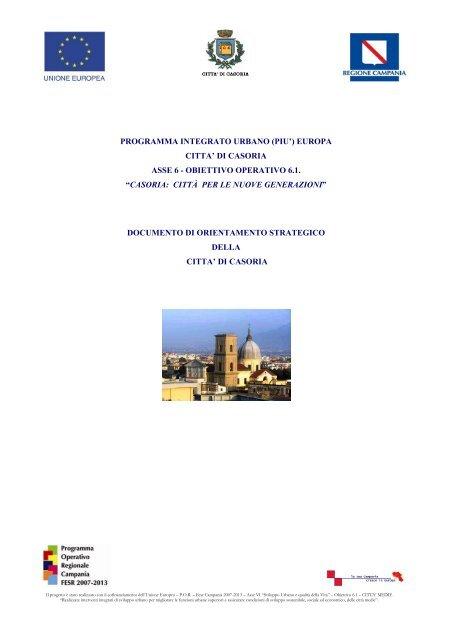 Programma Integrato Urbano Piu Europa Citta Di Casoria Asse 6