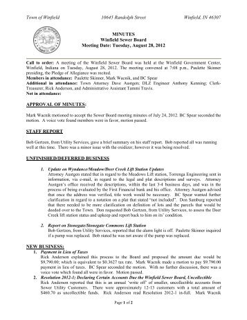 Sewer Board 8/28/12 Meeting Minutes - the Town of Winfield