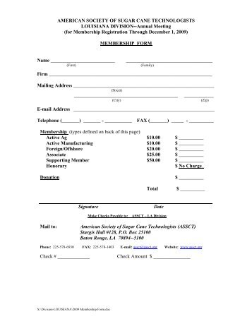 membership form - American Society of Sugar Cane Technologists