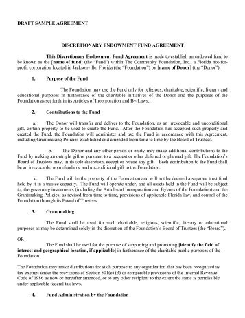 DonorAdvised Gift Fund Agreement Template The Community - Foundation bylaws template