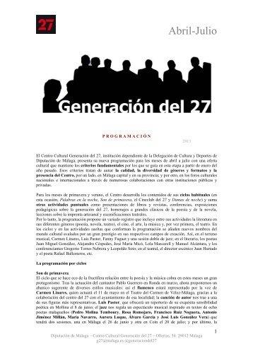 Actividades abril, mayo, junio, julio 2013 - Diputación de Málaga