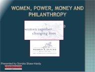 Women, Power, Money and Philanthropy Presentation by Sondra ...