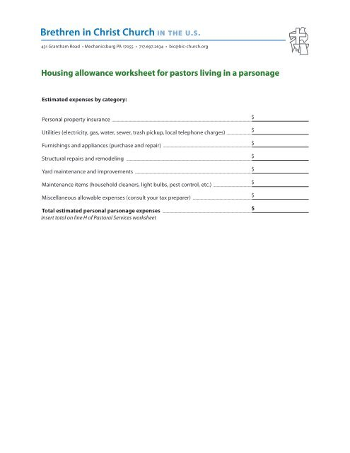 Housing Allowance Worksheet For Pastors Who Live In A Parsonage