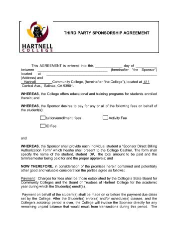 Third Party Sponsorship Agreement  Hartnell College