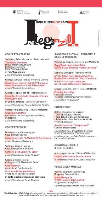Stagione musicale 2013 (182.12 KB) - Comune di Moncalieri