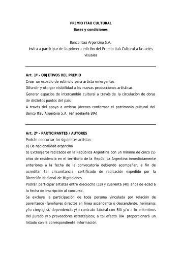 Bases y condiciones ITAU - Banco Itaú