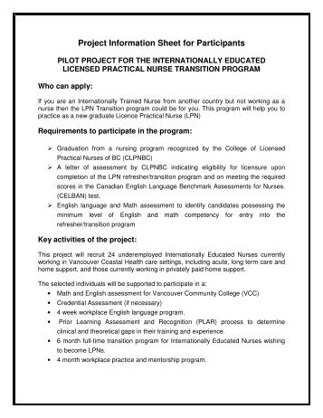Project Information Sheet for Participants - BC Internationally ...