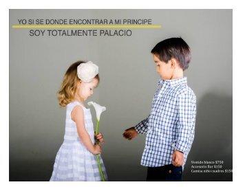 Vestido blanco $750 Accesorio flor $150 Camisa niño cuadros $150