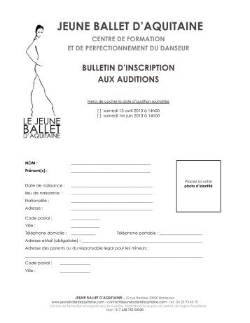 inscription audition web jeune ballet d'aquitaine ... - La danse
