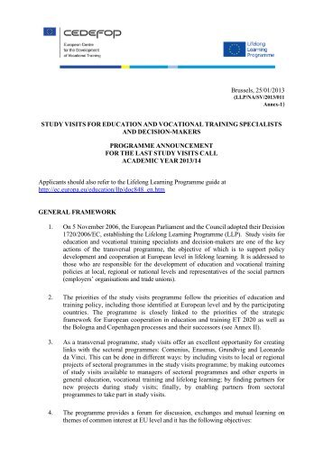 Study Visits Programme Announcement - Epos