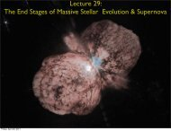 Lecture 29: The End Stages of Massive Stars and Supernovae