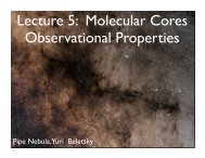 Lecture 5: Molecular Cores Observational Properties