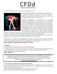 une formation continue : technique et creativite - La danse