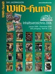 Inhaltsverzeichnis 2006 - Wild und Hund