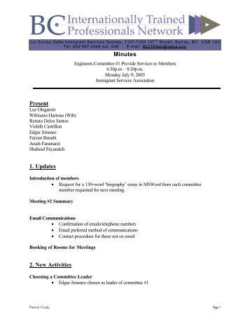 Minutes Present 1. Updates 2. New Activities - BC Internationally ...