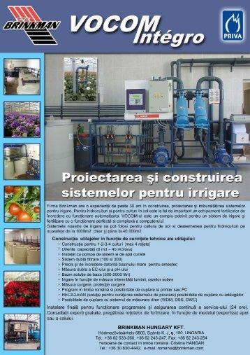 Proiectarea şi construirea sistemelor pentru irrigare - brinkman.ro