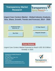 Urgent Care Centers Market (Illness, Injury, Physical, Vaccination, Diagnostic and Screening) - Global Industry Analysis, Size, Share, Growth, Trends and Forecast, 2014 – 2020