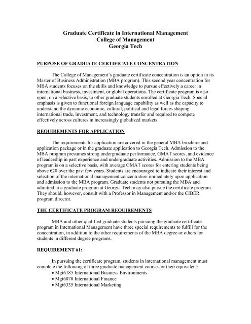 Graduate Certificate in International Management