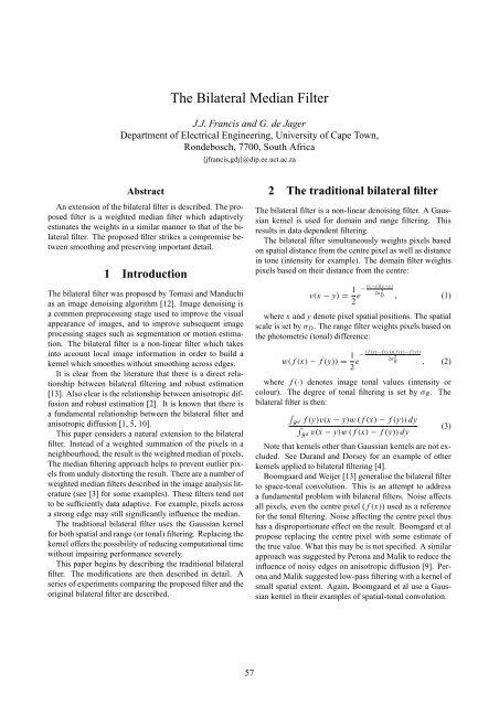 The Bilateral Median Filter - UCT Digital Image Processing