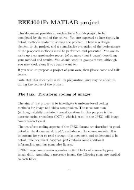 EEE4001F: MATLAB project - UCT Digital Image Processing