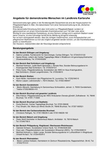 Angebote fuer demenzkranke Menschen im Landkreis Karlsruhe