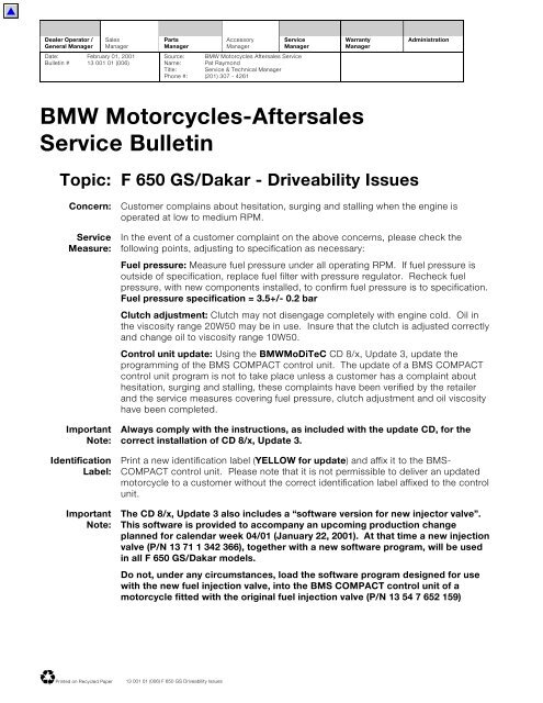 F 650 GS/Dakar - Driveability Issues - BM Bikes, BMW Motorcycle