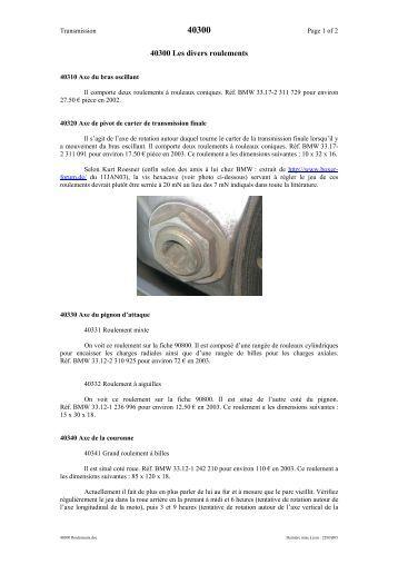 40300 Les divers roulements - Isatis