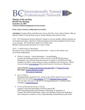 Minutes of the meeting BCITP Net Meeting - BC Internationally ...