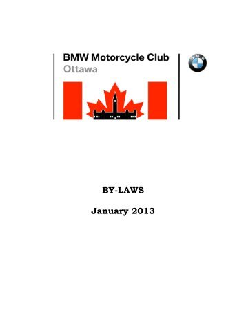 BY-LAWS January 2013 - BMW Motorcycle Club of Ottawa Canada