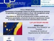 "BENEFICIAR Universitatea ""POLITEHNICA"" din Timișoara ... - LLP"