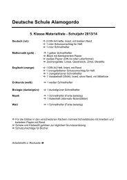 Deutsche Schule Alamogordo 5. Klasse Materialliste - Schuljahr ...