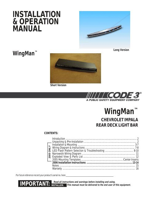 wingman installation guide for chevy impala code 3 public safety