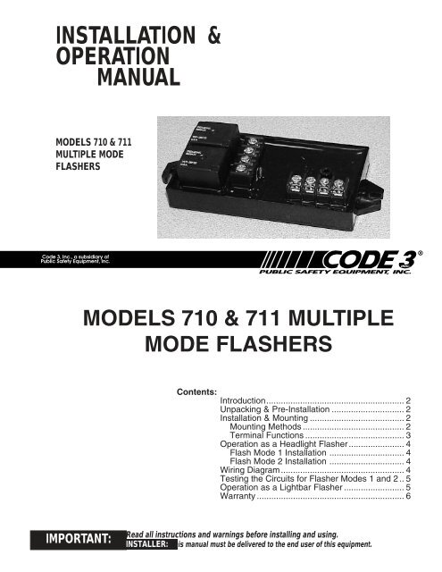 710 and 711 flashers installation guide code 3 public safety  code 3 as 2 installation wire diagram #10