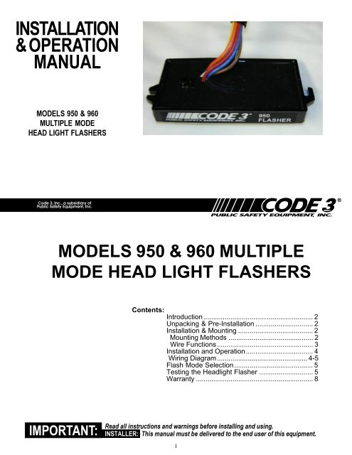 950 and 960 flashers installation guide - code 3 public safety