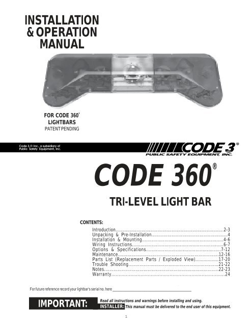 Code 360 Installation Guide - Code 3 Public Safety Equipment