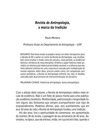 Revista de Antropologia, a marca da tradição - SciELO