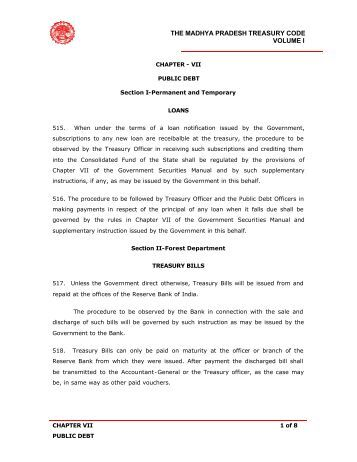 the madhya pradesh treasury code volume i - Mptreasury.org