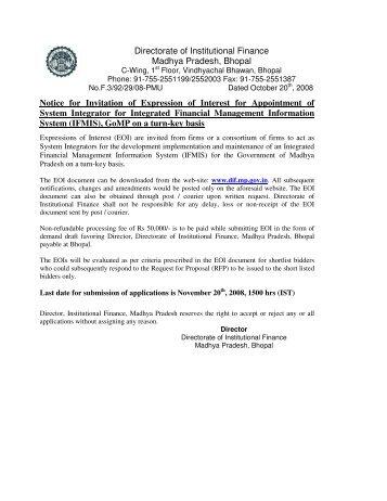 Directorate of Institutional Finance Madhya ... - Mptreasury.org