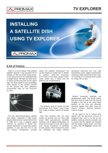 Installing a satellite dish using TV Explorer - Promax