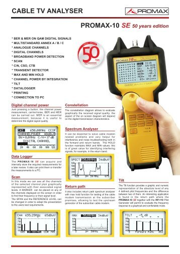 Cable TV analysers - PROMAX-10 SE 50 years edition