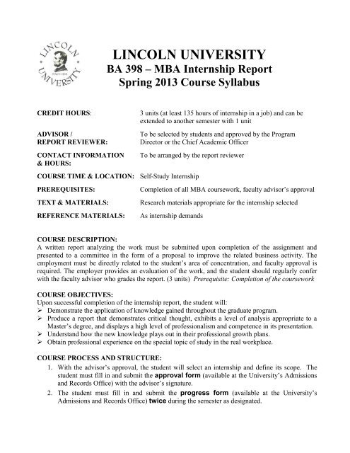 MBA Internship Report - Lincoln University