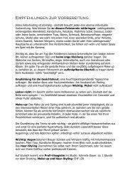 Empfehlungen zur Vorbereitung - Claudia Larsen, Künstlerin